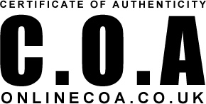 C.O.A Certificate Of Authenticity ONLINECOA.CO.UK
